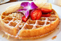Waffles are included with breakfast at our Chincoteague Dining