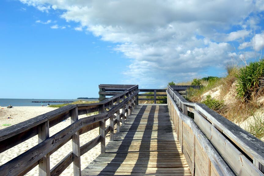 boardwalk at Cape Charles beach