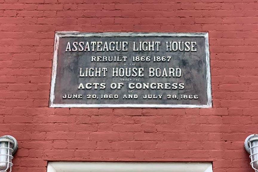 Assateague Lighthouse plaque